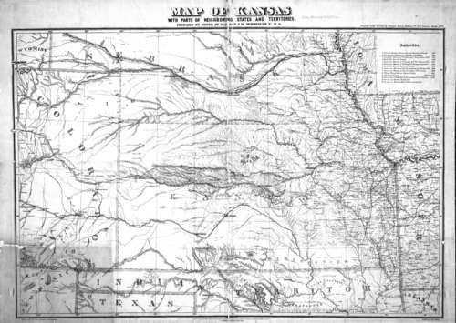 Map of Kansas, with parts of neighboring states and territories - Page