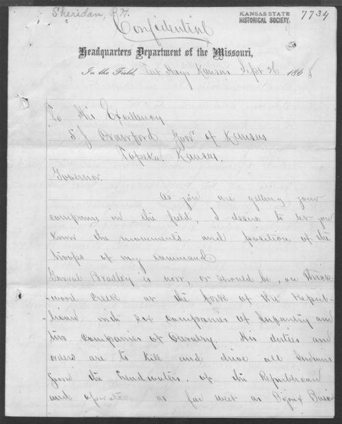 Philip H. Sheridan to Samuel J. Crawford - Page