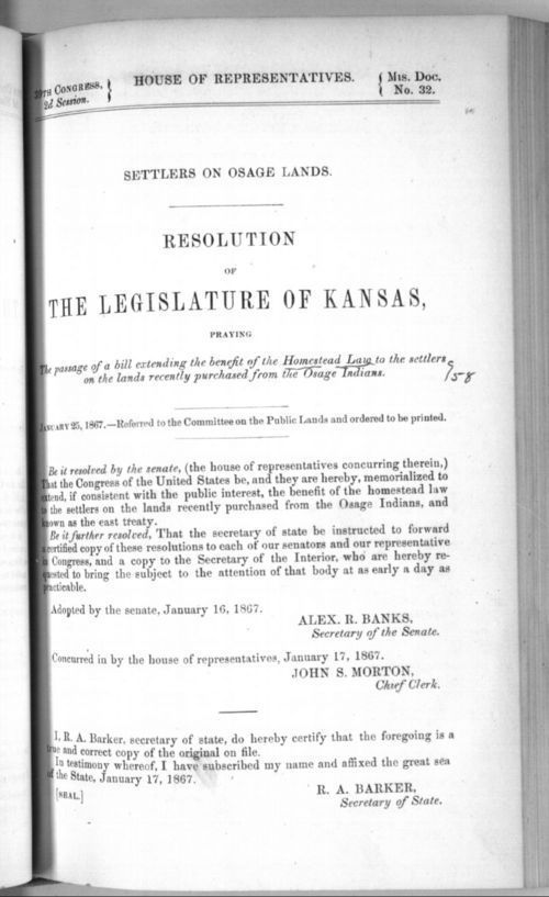 Settlers on Osage lands, resolution of the legislature of Kansas - Page