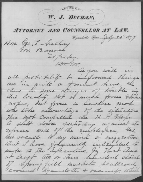 W. J. Buchan to Governor George Anthony - Page
