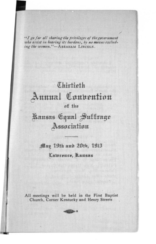 Kansas Equal Suffrage Association thirtieth annual convention - Page