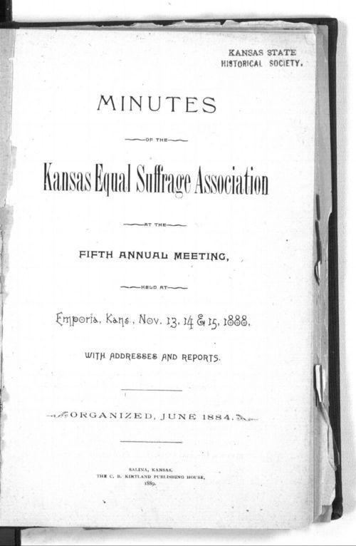 Minutes of the Kansas Equal Suffarge Association at the fifth annual meeting - Page