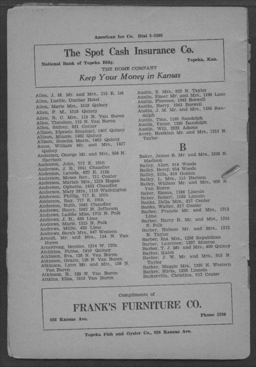 Colored Directory, Topeka, Kansas - Page