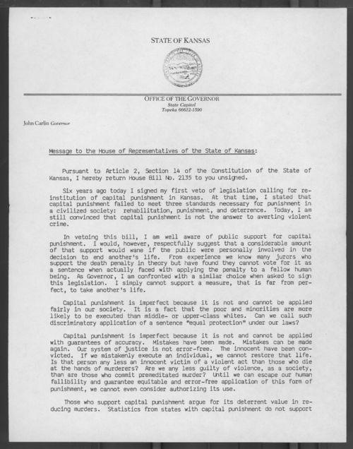 Governor John Carlin veto message on capital punishment bill - Page