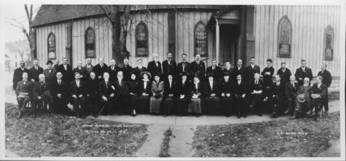 Photograph of  attendees of Kansas State Socialist Convention in Wichita, 1915