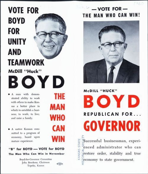 "Image of a 1960 campaign pamphlet promoting newspaper publisher McDill "" Huck"" Boyd as the Republican candidate for Kansas Governor."