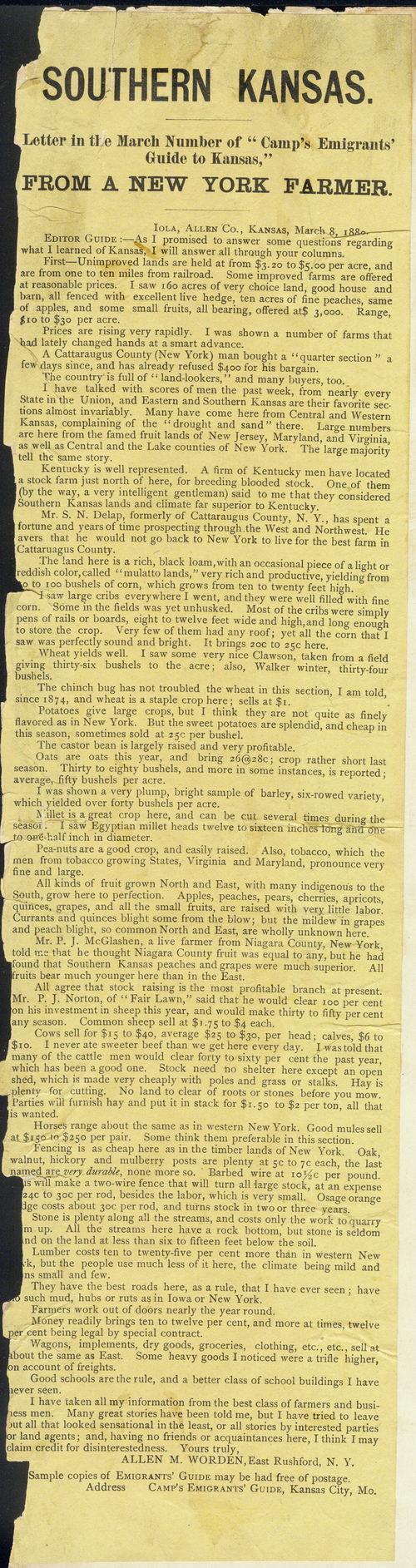 "Southern Kansas.  Letter in the march number of ""camp's emigrants' guide to Kansas,"" from a New York farmer - Page"