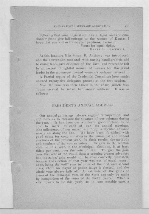 Minutes of the Kansas Equal Suffrage Association at the sixth annual meeting in 1889 - Page