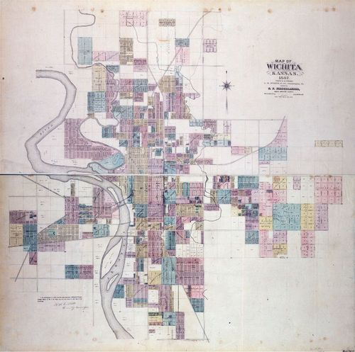 Evert's 1887 map of Wichita