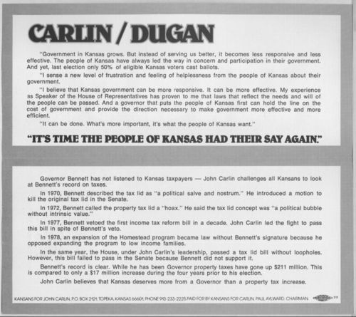 Carlin for governor campaign brochure - Page
