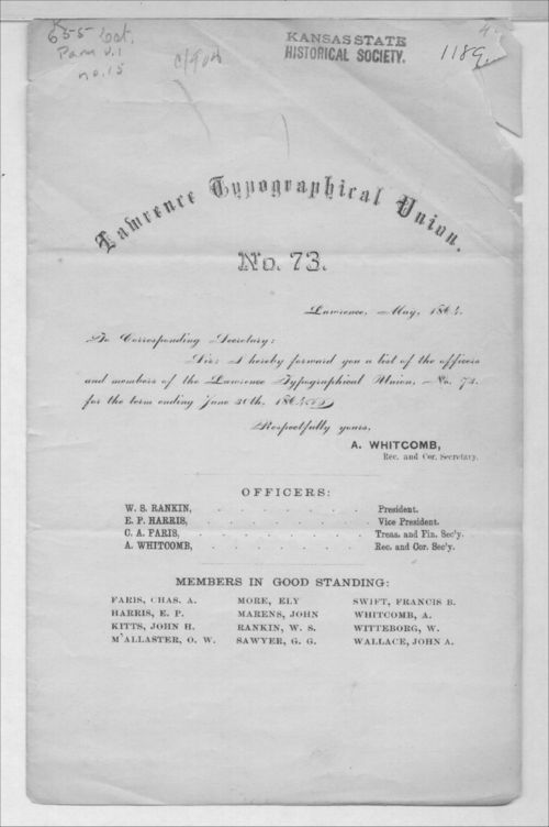 Lawrence Typographical Union No. 73  list of officers and members - Page