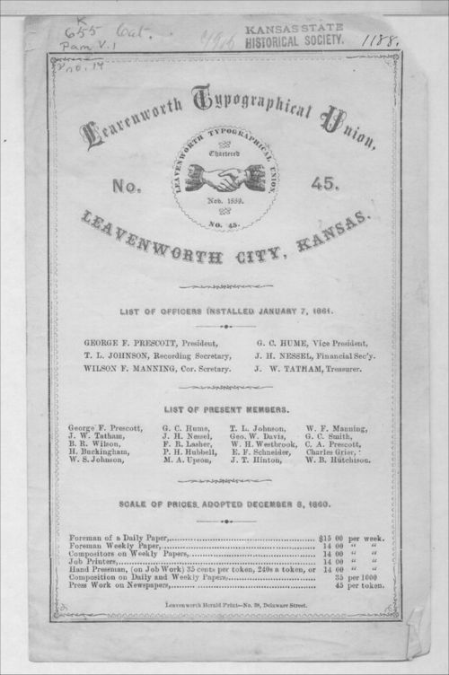 Leavenworth Typographical Union No. 45 list of officers - Page