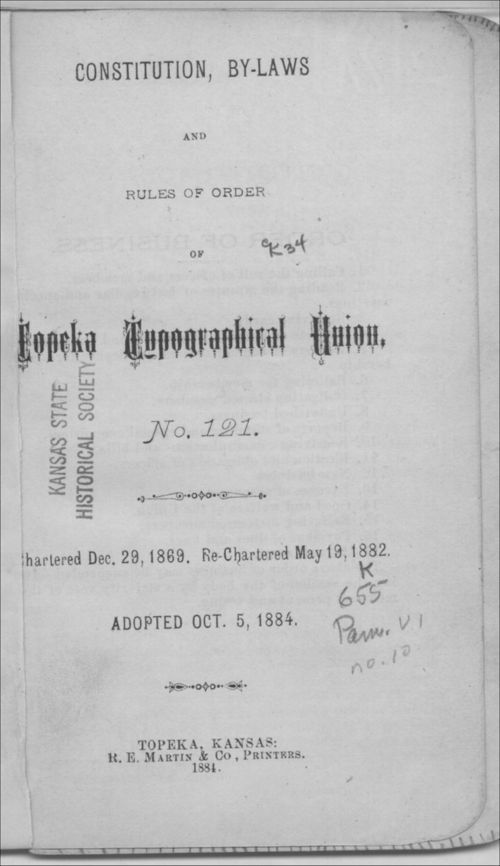 Constitution, bylaws and rules of order of Topeka Typographical Union No. 121 - Page