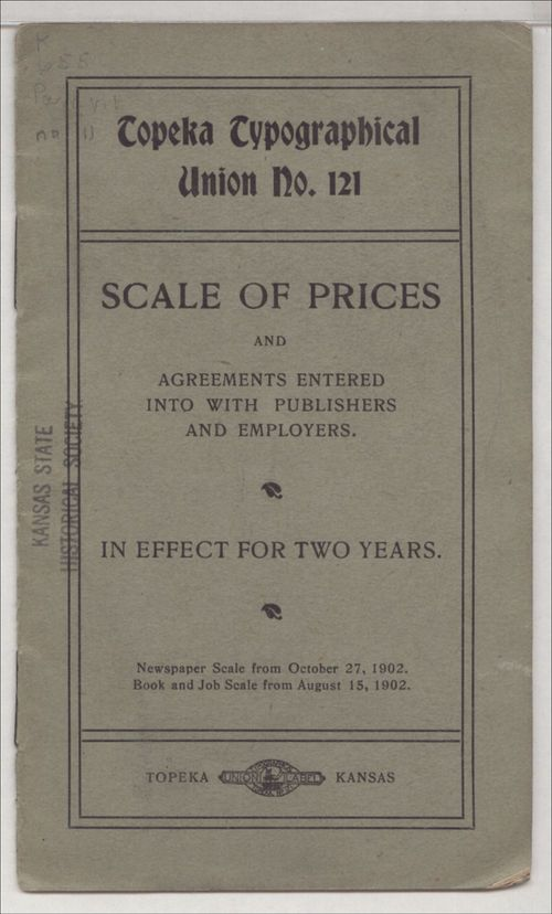 Topeka Typographical Union No. 121 scale of prices - Page