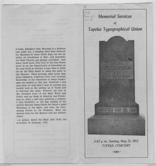 Memorial services of Topeka Typographical Union - Page