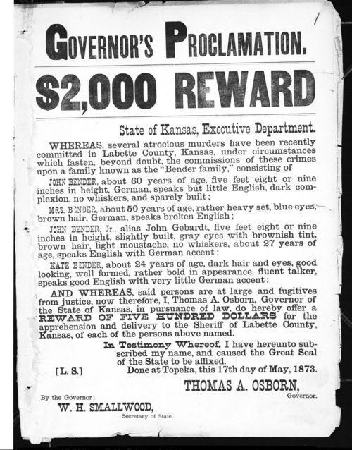 Governor's proclamation, $2,000 reward - Page