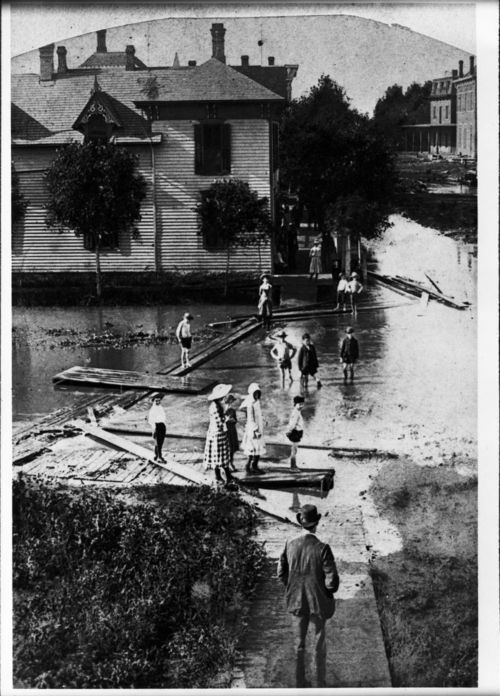 Flood waters in Abilene, Kansas - Page