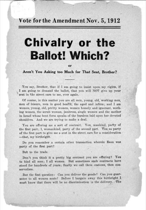 Chivalry or the Ballot!  Which? Or Aren't You Asking too Much for That Seat, Brother? - Page