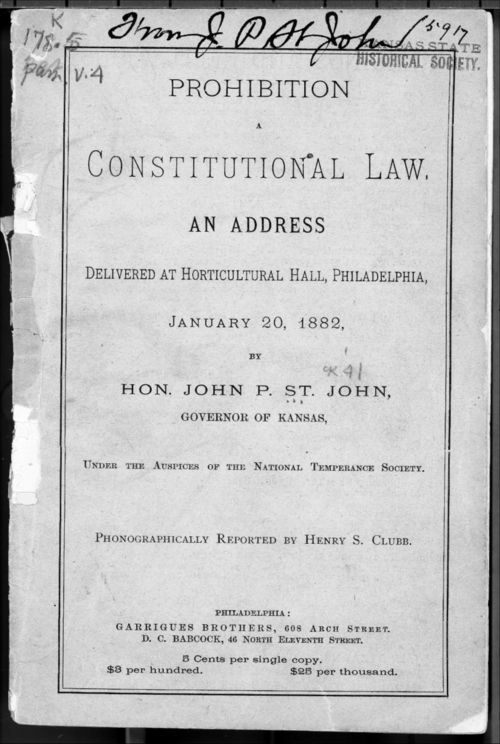 Prohibition.  A constitutional law - Page