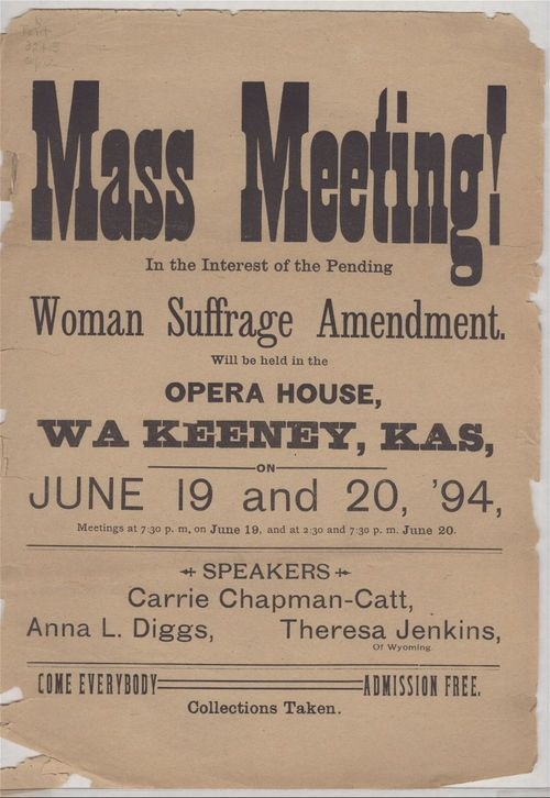 Image of poster advertising a woman suffrage meeting in Wakeeney, 1894