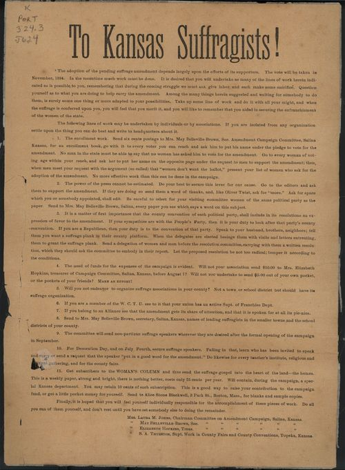 To Kansas suffragists! - Page