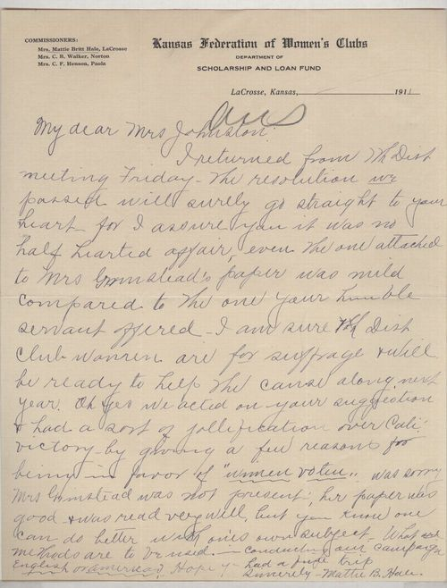 Mattie B. Hale to Lucy Johnston - Page