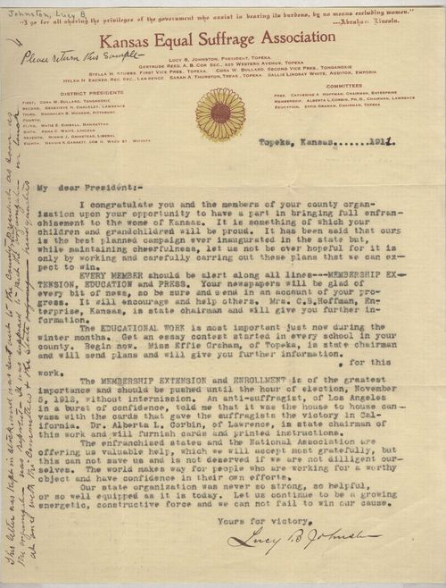 Letter from Lucy Johnston to all the county presidents of the Kansas Equal Suffrage Assoc., explaining the three elements of their campaign for women's suffrage. CLICK TO ENLARGE