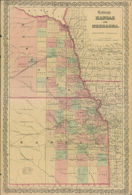 Image of and link to an 1863 version of Colton's Kansas and Nebraska map, 1855.