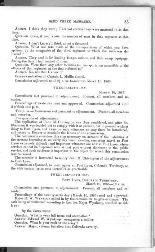 Testimony of Major Edward W. Wynkoop - Page