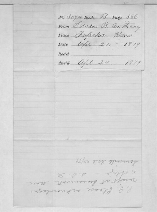 Susan B. Anthony to Governor John P. St. John - Page