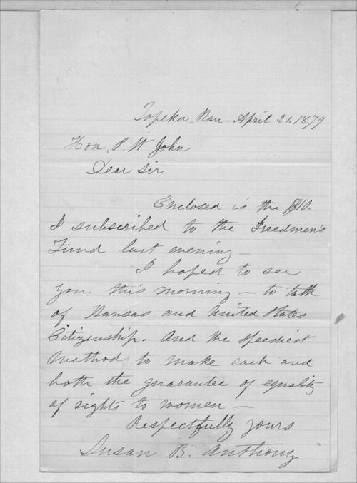 Susan B. Anthony to Governor John P. St. John - Page