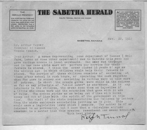 Ralph Tennal to Arthur Capper - Page