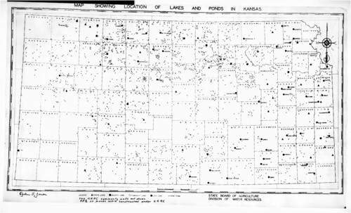 Map showing locations of lakes and ponds in Kansas - Page