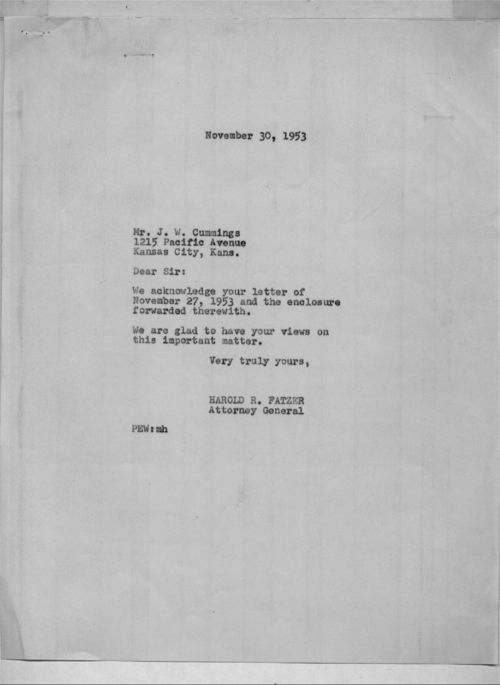 J. W. Cummings to Harold Fatzer - Page