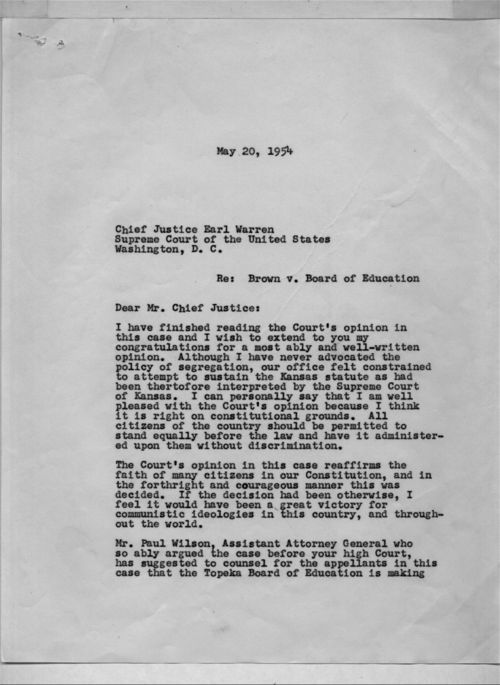 Harold Fatzer to Chief Justice Earl Warren - Page