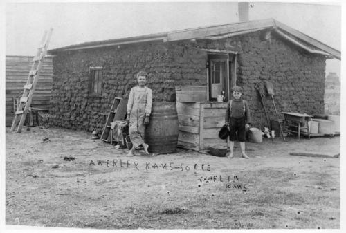 Sod house near Claflin, Kansas - Page