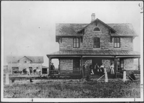 An exterior view of the two story native limestone villa of George Grant, the founder of the English community of Victoria