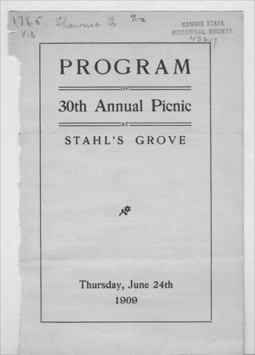 Program of the thirtieth annual picnic at Stahl's Grove, Shawnee County, Kansas - Page