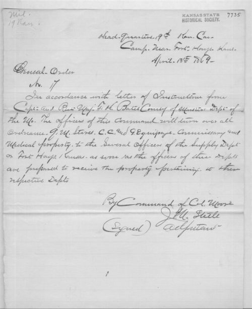 Image of general order 17 concerning the turning over of property to the supply department at Fort Hays.
