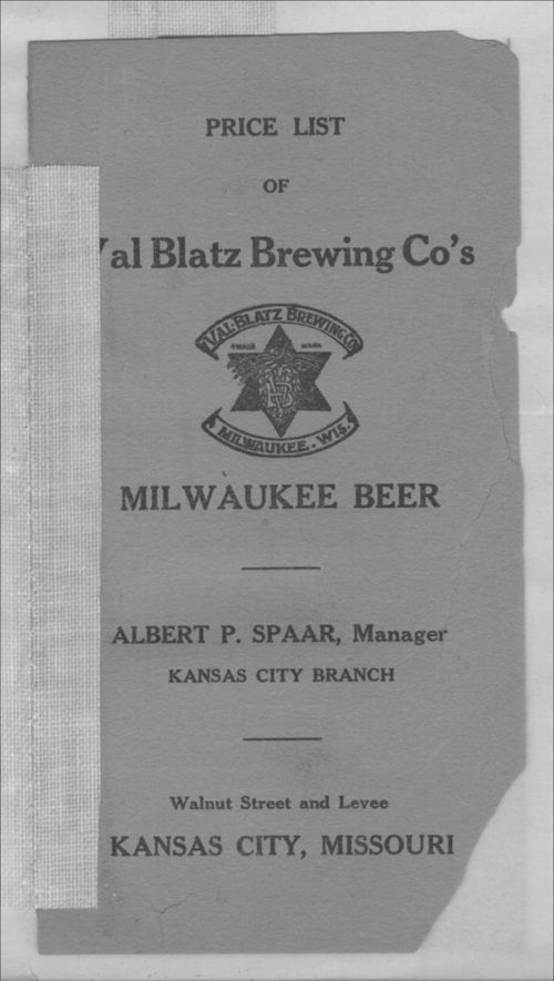 Price list of Val Blatz Brewing Co's Milwaukee Beer - Page