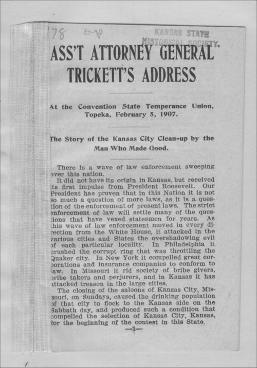 Ass't Attorney General Trickett's address - Page