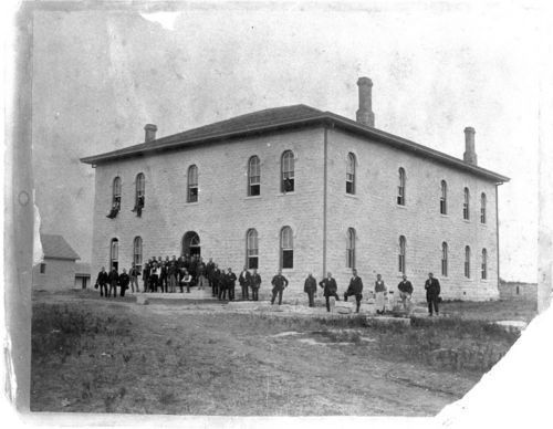 Photograph of Pottawatomie County Courthouse, taken 1884 or 1885.
