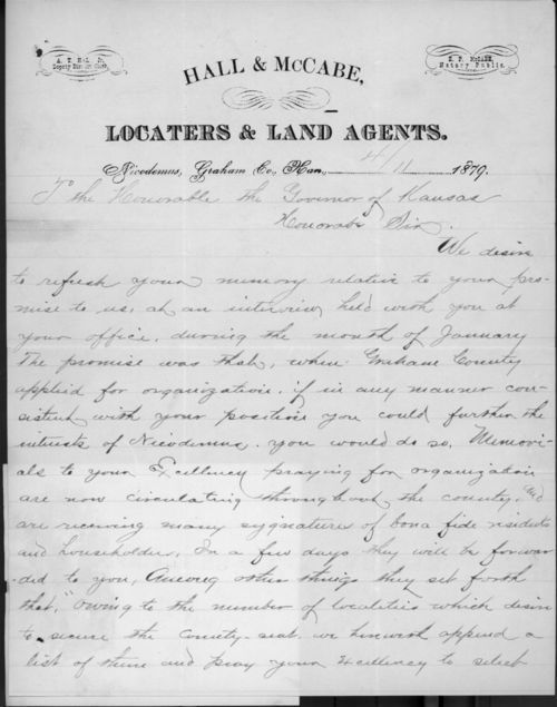 A. T. Hall, Jr. and E. P. McCabe to Governor John P. St. John - Page