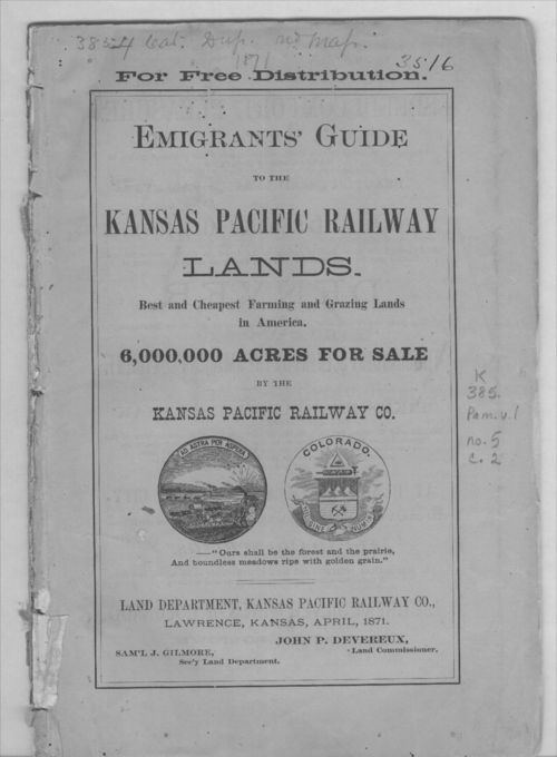 Promotional advertisement pamphlet by the Kansas Pacific Railway  