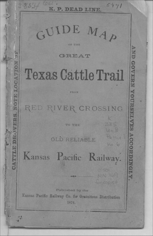 Guide map of the great Texas cattle trail from Red River crossing to the old reliable Kansas Pacific Railway - Page