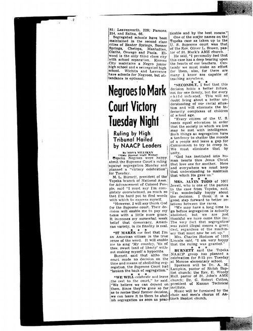 Negroes to mark court victory Tuesday night - Page