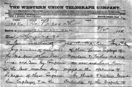 H.M Hoxie telegram to Governor John Martin - Page