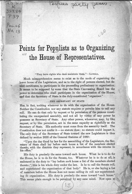 Points for Populists as to organizing the House of Representatives - Page