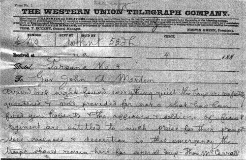 Thomas McCarroll telegram to Governor John Martin - Page