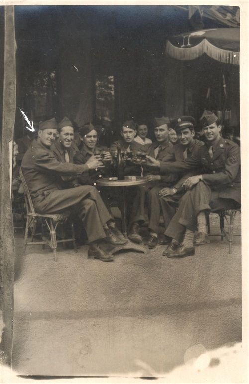 Soldiers at a street cafe, Paris, France - Page